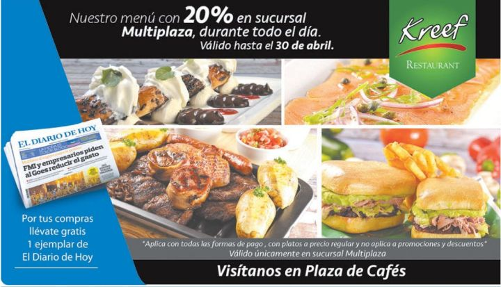 Plaza cafes MULTIPLAZA descuentos 20 OFF restaurante kreef