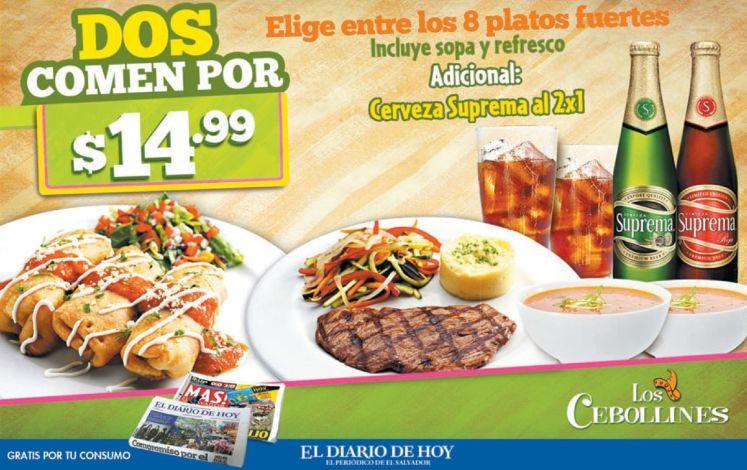 Promocion para comer 2 en restaurante los cebollines por 14.99 de dolar