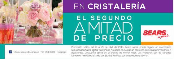 SEARS Promocion en cristaleria segundo articulo mitad de precios
