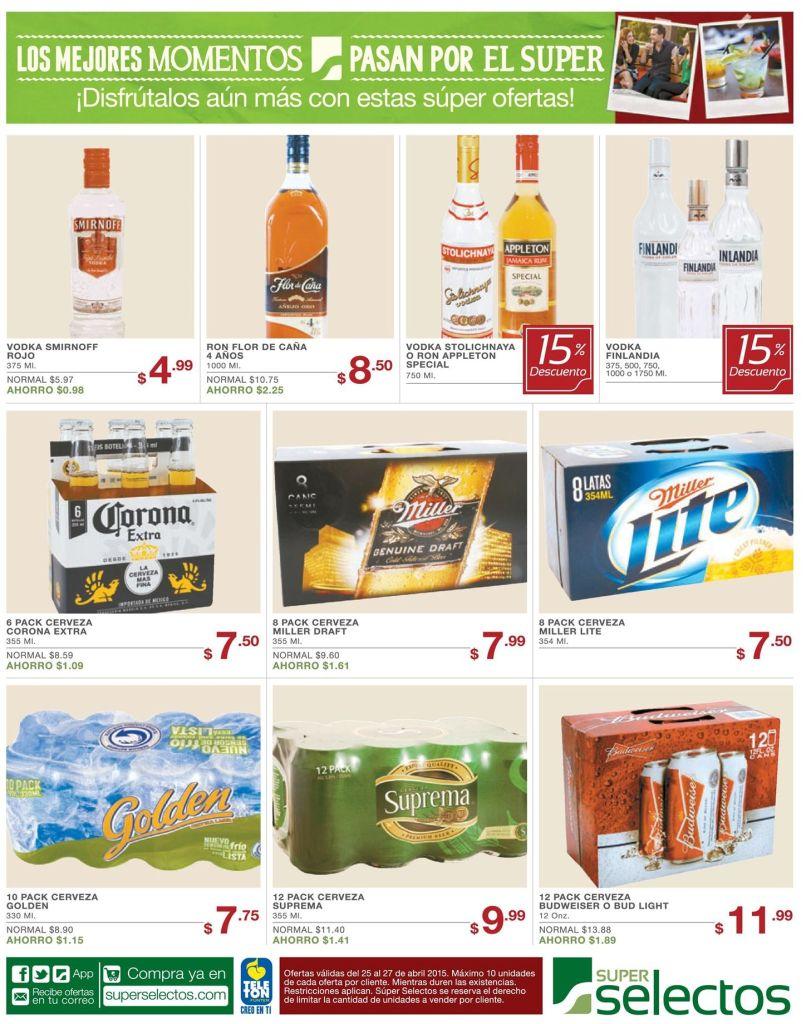 cerveza nacional y licores en oferta SUPER SELECTOS - 25abr15