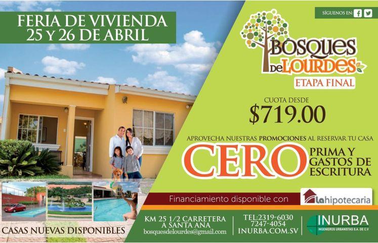 comprar casas nuevas en LOURDES feria de vivienda elsavador