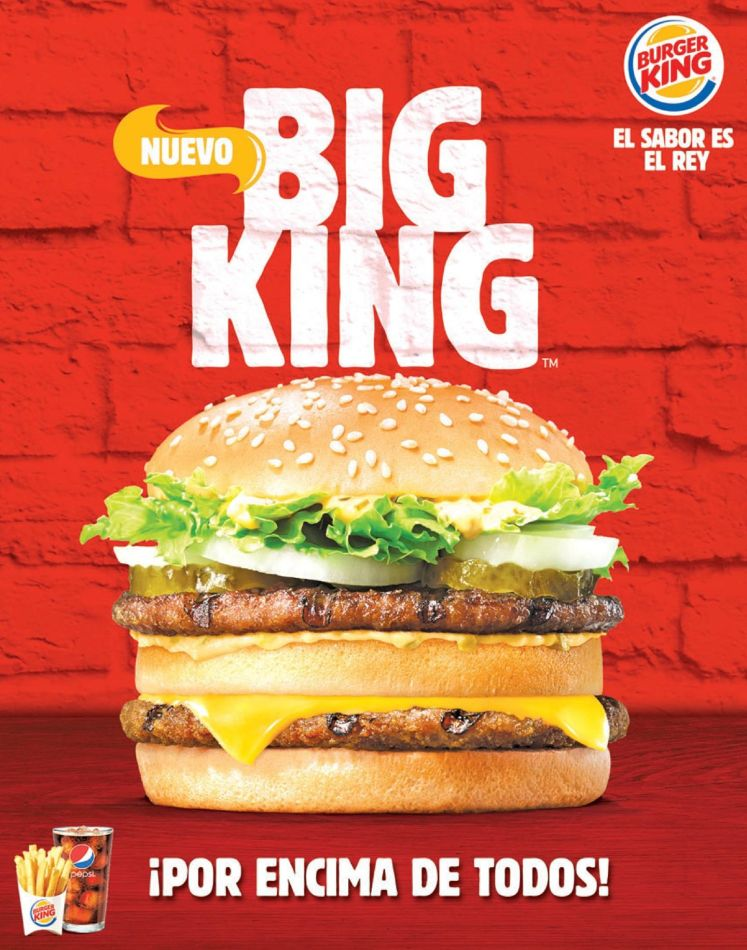 new BURGER BIG KING el sabor es rey