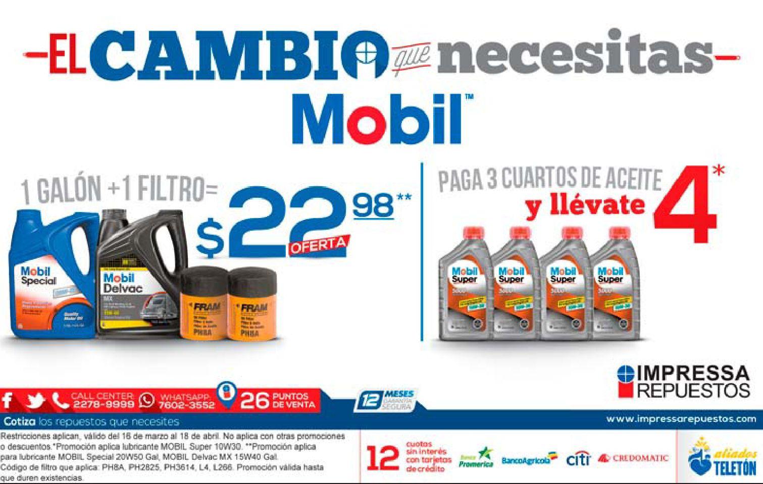oferta en cambio de aceite MOBIL impresa repuestos - 06abr15