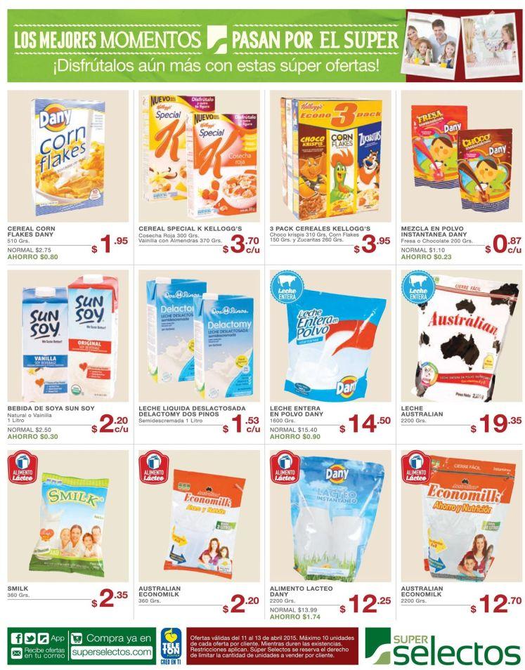 super selectos promociones en cereales y leche entera - 11abr15