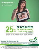 Banco promerica 25 OFF en restaurante y floristerias - 08may15