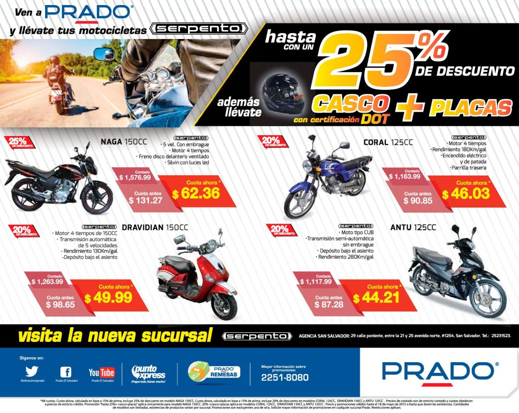 Economiza gasolina y tiempo MOTOS SERPENTO de PRADO - 15may15