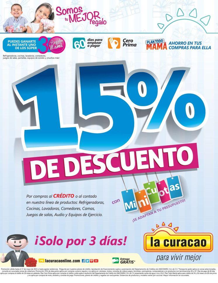 La Curacao 15 por ciento OFF por 3 dias - 15may15