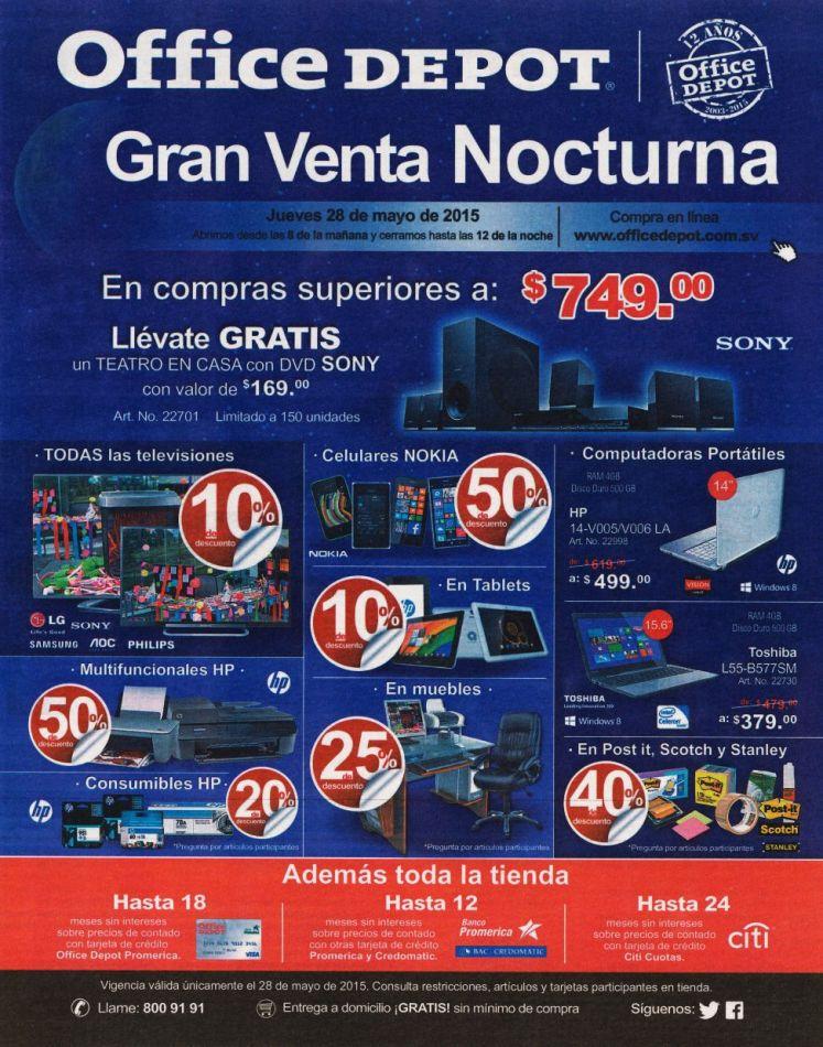 Office Depot descuentos y promociones en VENTA NOCTURNA ahora - 28may15
