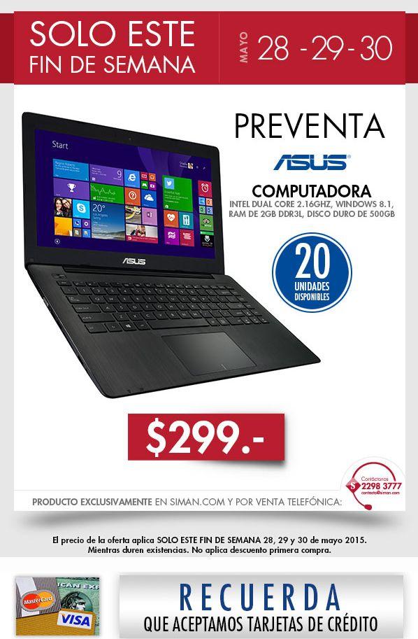 PREVENTA siman computadora portatil ASUS 299 dolares - 29may15