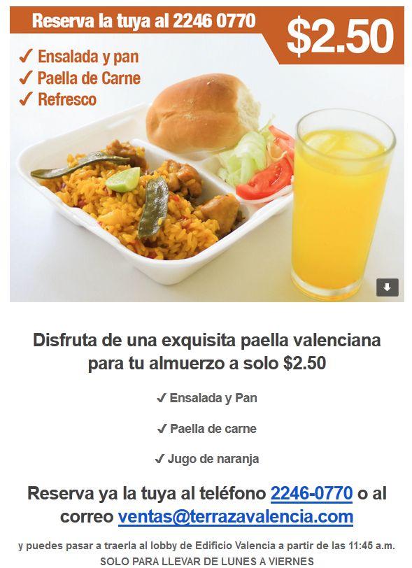 Paella valenciana para tu almuerzo en la oficina