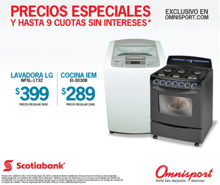 Precios especiales lavadora y cocina OMNISPORT online store