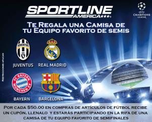 Promociones SportLine america el salvador camisetas CHAMPIONS league
