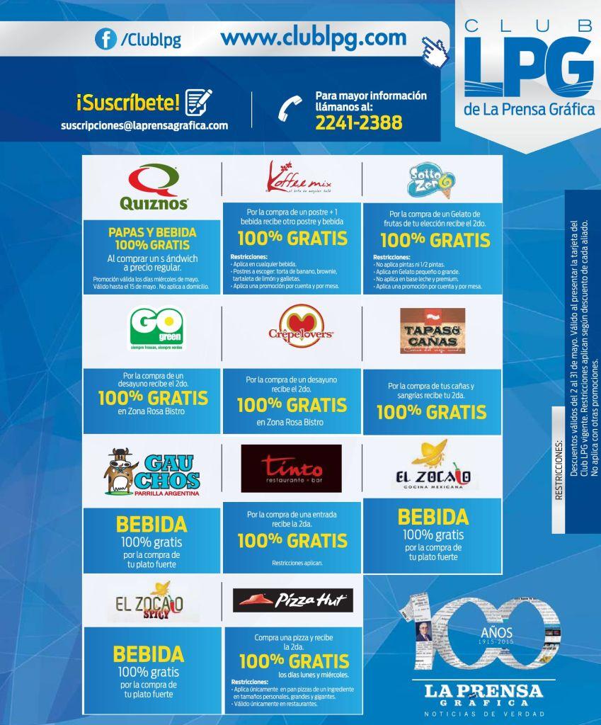 Ricas comidas platillos y postres DESCUENTOS club LPG promociones - 02may15