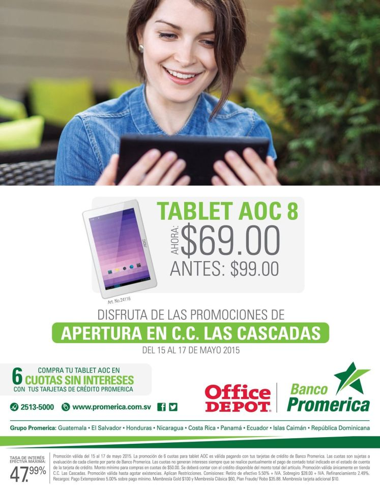 TABLET AOC 8 por solo 69 dolares OFFICE DEPOT las cascadas - 15may15