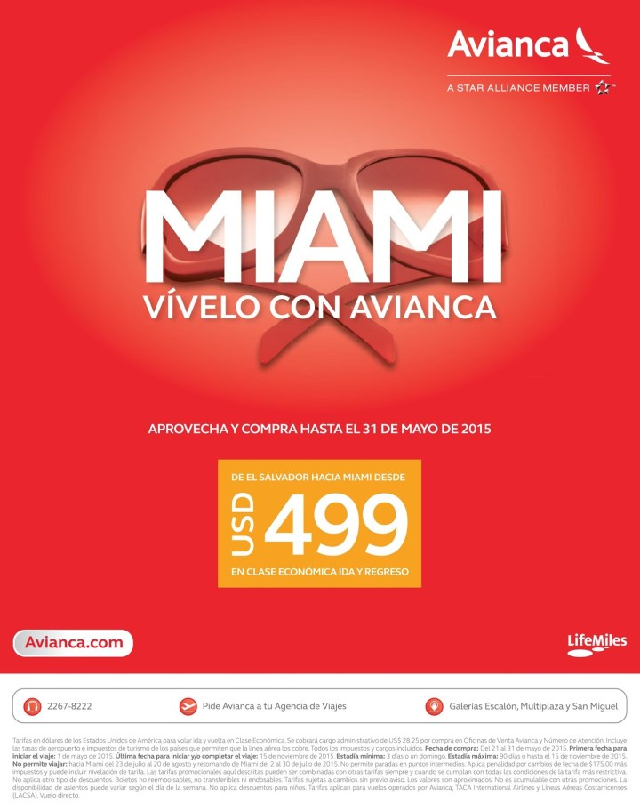 Viaja a MIAMI con AVIANCA oferta boletos aereos - 21may15