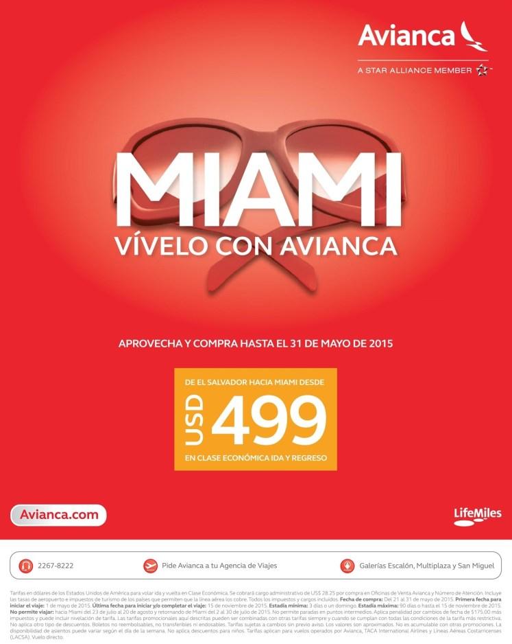 Viaja a MIAMI con AVIANCA oferta boletos aereos - 21may15