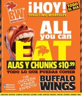 all you can eat MIERCOLES en buffalo wings
