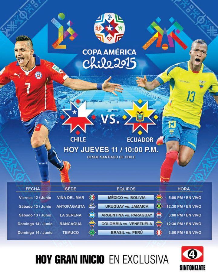 Ahora como ver en TV gran inicio COPA AMERICA 2015 chile vs ecuador