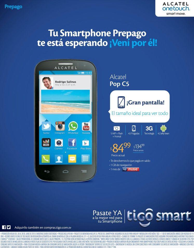Aqui esta tu smartphoe prepago ALCATEL en oferta - 26jun15