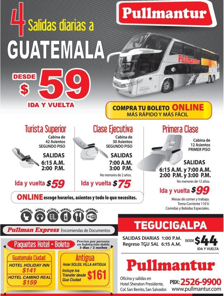 PULLMANTUR viajes en bus a GUATEMALA city buy your ticket online NOW