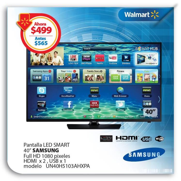 WALMART ofertas para PAPA Pantalla LD SMART 40 pulgadas SAMSUNG - 10jun15