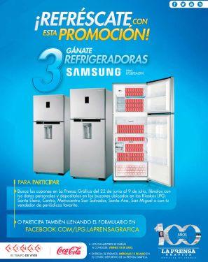 participa en la promocion LPG - SIMAN - Coca cola te regalan 3 refrigeradores SAMSUNG
