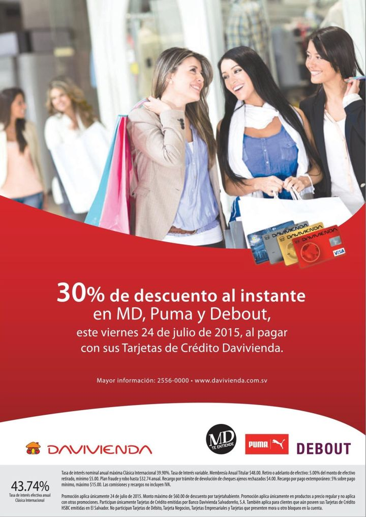 30 OFF stores MD puma DEBOUT gracias a davivienda