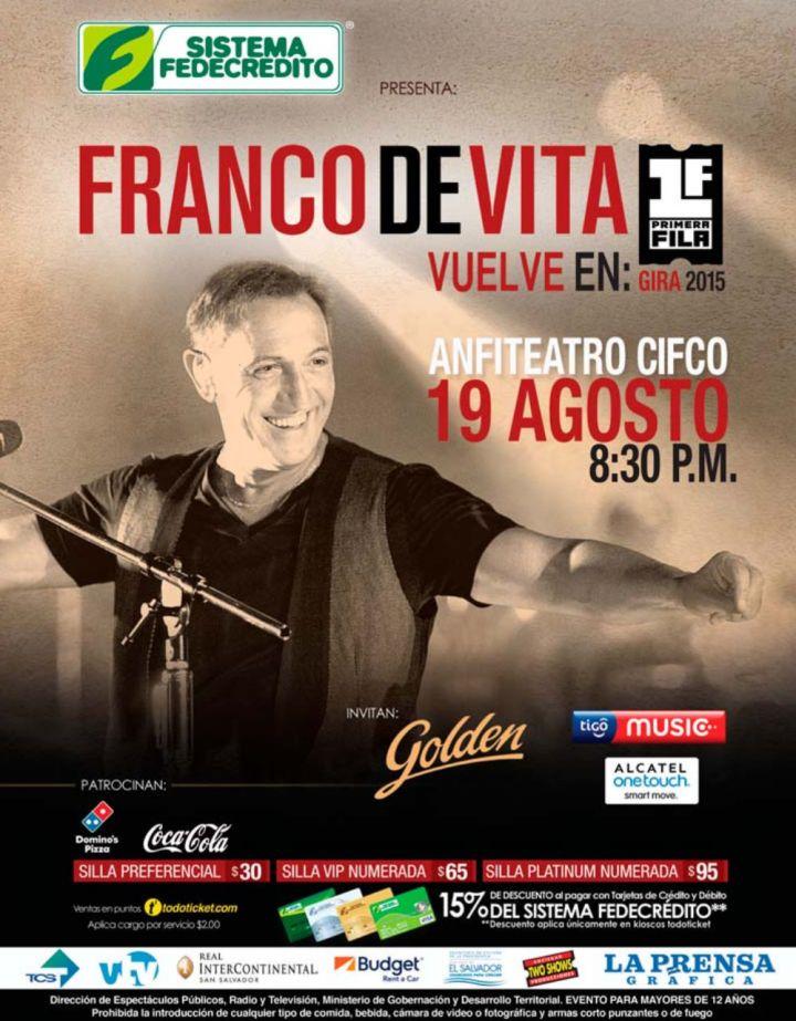 Franco de Vita concierto 2015 elsalvador PRIMERA FILA