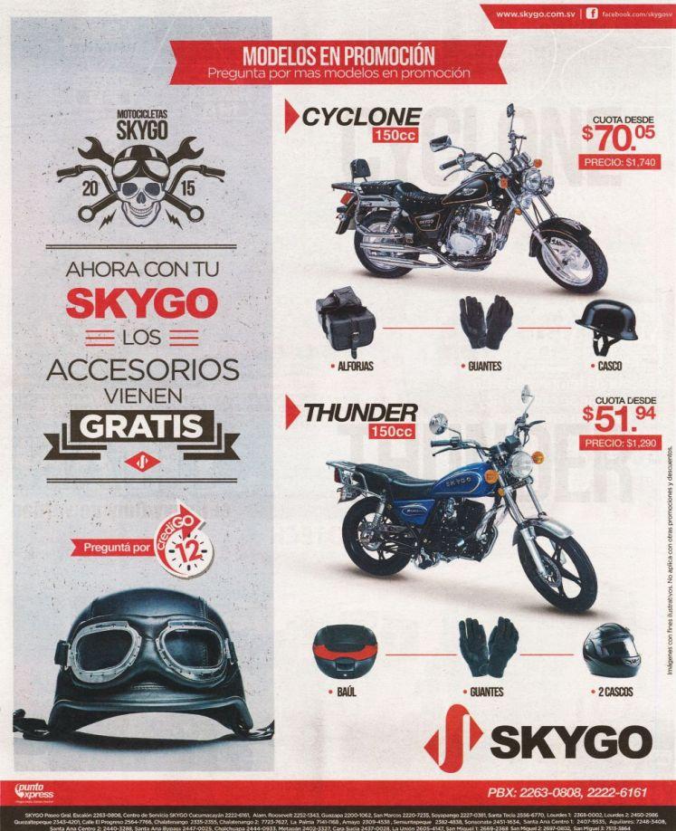 Modelos en promocion MOTOS SKYGO el salvador