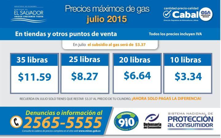 Precio CABAL del gas licuado JULIO 2015