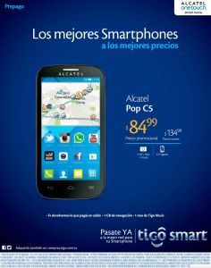 Precio promocional TIGO alcatel pop c5 smart move