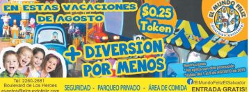 Promocion en TOKENS en mundo feliz vacaciones de agosto 2015