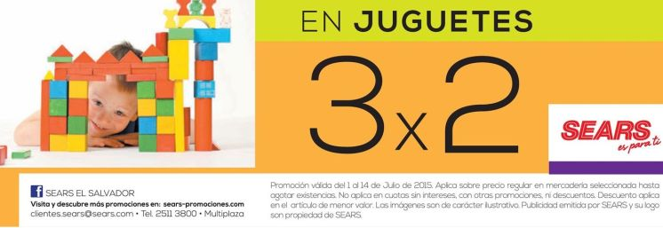 TOYS for kids 3x2 promotions SEARS - 04th JULY