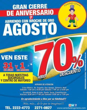 VARIEDADES GENESIS Grandes descuentos por cierre de temporada - 31jul15