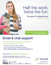 email and chat support JOB apply now