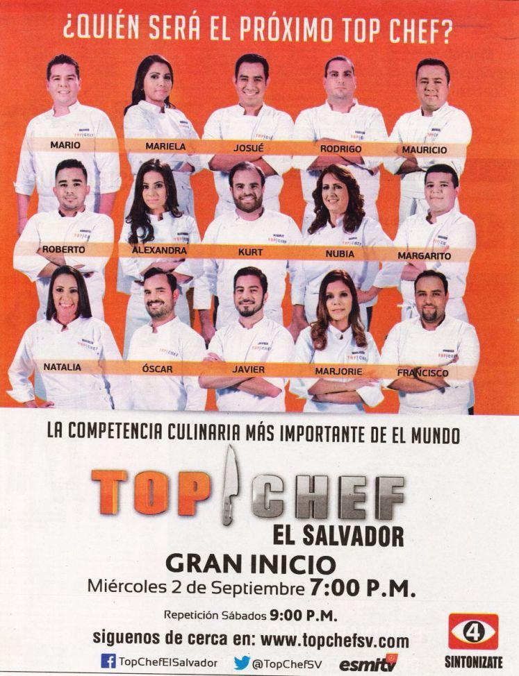 Conoce a los participante TOP CHEF elsalvador 2015