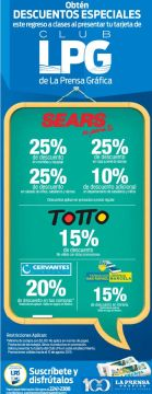 Descuentos especiales en TOTTO - SEARS - LIBRERIAS gracias al club LPG