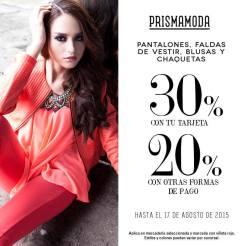 Descuentos especiales en pantalones faldas blusas y chaquetas PRISMA MODA - 13ago15