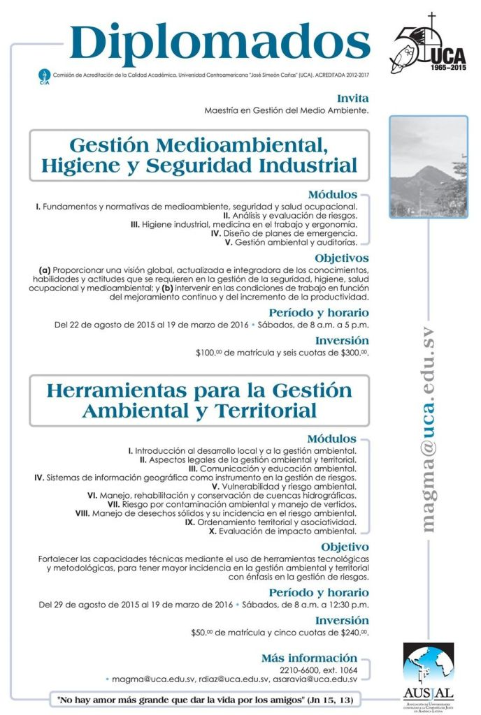 Diplomados en gestion ambiental UCA elsalvador