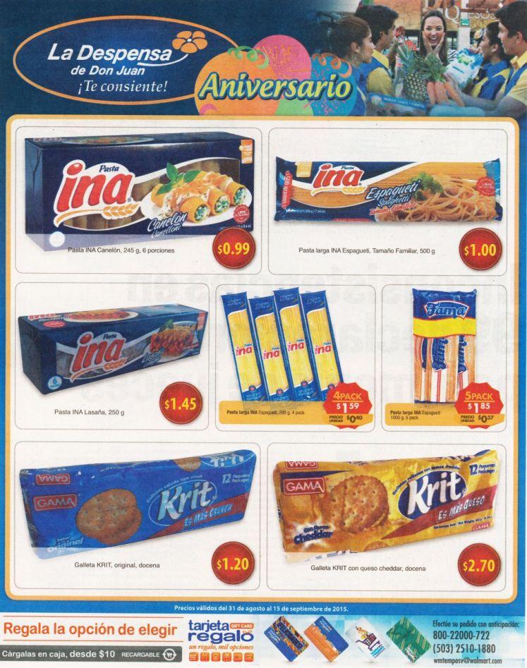 INA pastas y galletas KRIT ofertas de hoy en la despensa - 31ago15