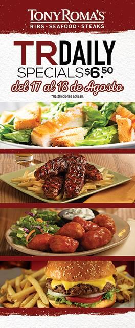 Tony Romas DAILY Special menu 6.50 de dolar - 18ago15