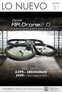 new AR DRONE 2.0 Parrot elite edition DISPONIBLE en SIMAN con descuento