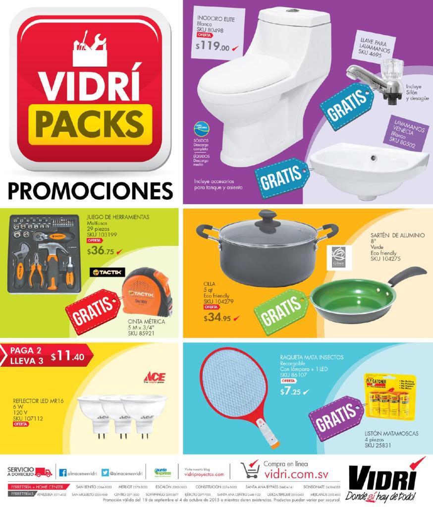 COMBOS para la familia PROMOCIONES VIDRI Packs Septiembre 2015