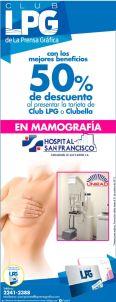 Descuentos en MAMOGRAFIA hospital san francisco SAN MIGUEL