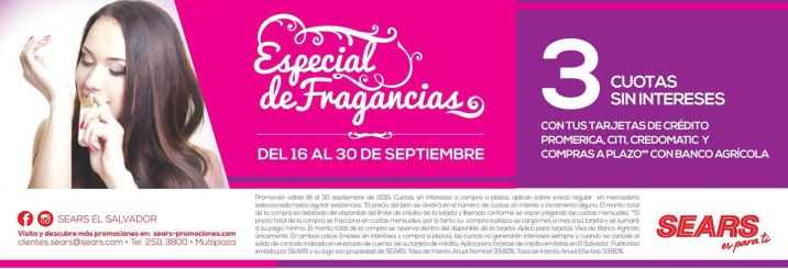 Especial de fragancias SEARS weekend promotions