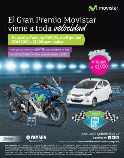 GANA con el gran premio MOVISTAR moto yamaha y carro hyundai eon 2016 o 1000 dolares semanales