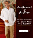 In demand and In stock CUVABERA the bright white front tuck shirt
