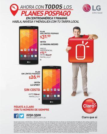 LG smartphone promociones pospago en CLARO elsalvador