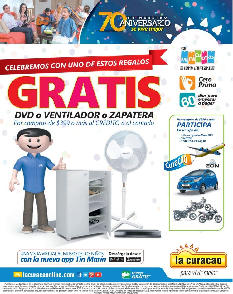 Regalos GRATIS por tus compras en la curacao - 25sep15