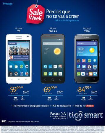 SALE week android smartphones HUAWEI ALCATEL PIXI by TIGO